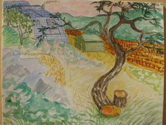 Donde duerme el zorro, pastel 29x25 Sylvie Berman artista pintora