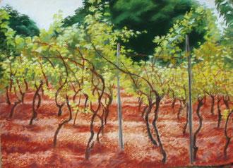 Vigne de Cassagnac, pastel 65x50 Sylvie Berman artiste peintre (vendu)