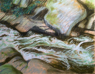 Torrent, pastel 11x11 Sylvie Berman artiste peintre