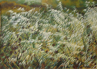 Wild oats, Oil on canvas 110x70  Sylvie Berman artiste peintre