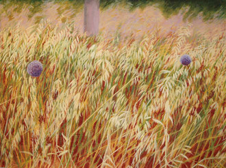 Garlic, grass, Oil on canvas 110x70  Sylvie Berman artiste peintre