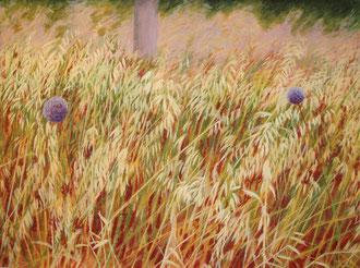 ajoz, hierbas, olio sobre tela, 110x70 Sylvie Berman artista pintora