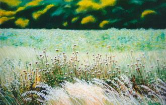 Avena salvaje, cardos, pastel 70x50 Sylvie Berman artista pintora
