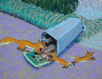 Ou bien... dans la poubelle!  pastel 29x25 Sylvie Berman artiste peintre