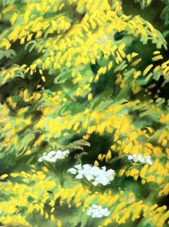 Detail of Summer mead, pastelSylvie Berman artiste peintre