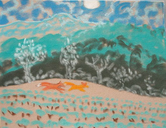 Where do the foxes run?  pastel 29x25 Sylvie Berman artiste peintre