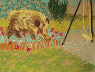 dans le jardin!, pastel  Sylvie Berman artiste peintre