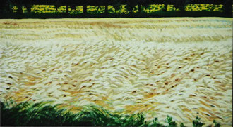 Wind upon wheats, pastel 15 x11 Sylvie Berman artiste peintre