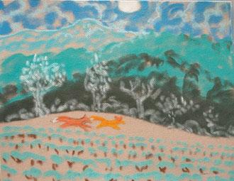 Donde corren los Zorros, pastel Sylvie Berman artista pintora