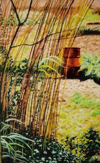 Potager bidon, pastel  50x30 Sylvie Berman artiste peintre