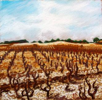 San Juan del Minervois, pastel 25x26 Sylvie Berman artista pintora
