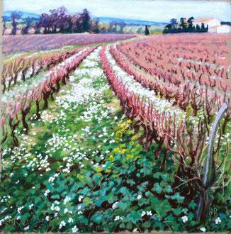 Corbières en hiver, pastel 30x30 Sylvie Berman artiste peintre