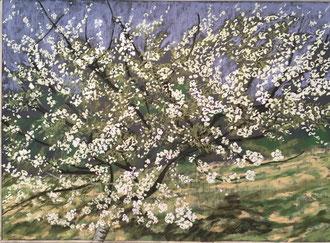 Danse du cerisier, pastel 70x50 cm Sylvie Berman artiste peintre