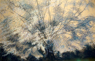 Willow, night, pastel 15x19 Sylvie Berman artiste peintre