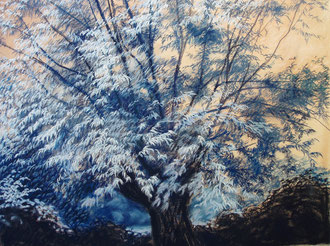 Nocturne rose et bleu, pastel 65x50 cm - Sylvie Berman Artiste peintre
