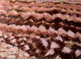 Ploughing, pastel on velvet paper 9x5,9  Sylvie Berman artiste peintre