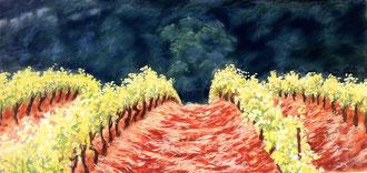 Corbières en Mai, pastel 69x33 Sylvie Berman artiste peintre