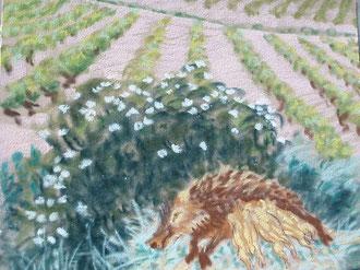 Où dorment les sangliers, pastel  Sylvie Berman artiste peintre