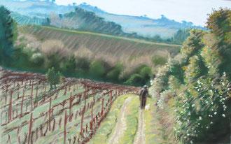 Soir de mars, pastel 40x25 Sylvie Berman artiste peintre