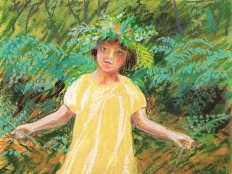 Pequeno misterio emplumado, pastel 25x29 Sylvie Berman artista pintora