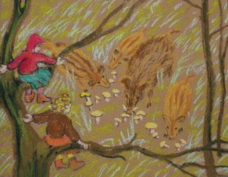 donde comen los jabalis, pastel Sylvie Berman artista pintora