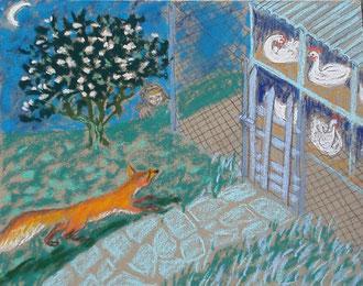 Le renard s'en va-t-au marché, du côté du poulailler  pastel 29x25 Sylvie Berman artiste peintre