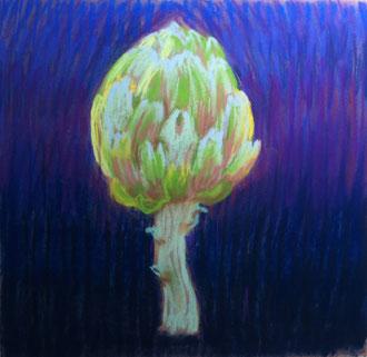 Alcachofa, morado, pastel 20x20 Sylvie Berman artista pintora