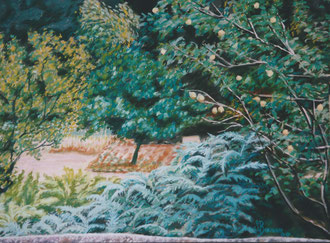 Kitchen garden of Fontgrande, pastel 25x19 Sylvie Berman artiste peintre