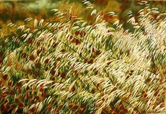 Avenas salvajes, pastel 110x70 Sylvie Berman artista pintora
