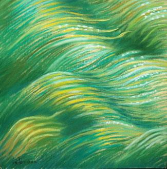 Submarine 2, pastel 20x20 Sylvie Berman artiste peintre