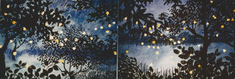 Remembrance of the fireflies, pastel 50x130 Sylvie Berman artiste peintre
