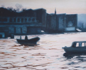The Bosphorus ferryman, Oil on canvas 31x21 (sold) Sylvie Berman artiste peintre
