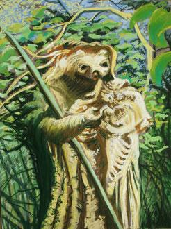 Le Kami des bois, pastel 30x40 Sylvie Berman artiste peintre
