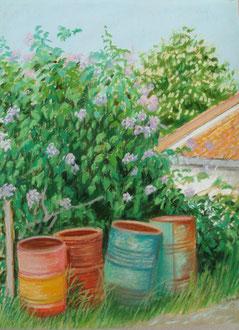 Lilas, bidones, pastel 25x29 Sylvie Berman artista pintora