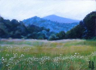 Alba en las Corbières, pastel 29x25 Sylvie Berman artista pintora