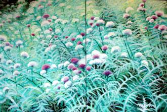 Forêt de chardons, Huile sur toile 130x63  Sylvie Berman artiste peintre