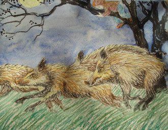 Where the boars run, aquarelle, pastel  Sylvie Berman artiste peintre