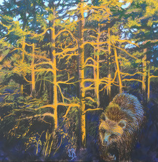 L'aube dans la forêt, pastel 40x40 cm( rencontre du totem- Sylvie Berman artiste peintre