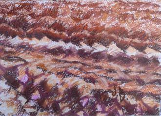 Ploughing, pastel 9x5,9 Sylvie Berman artiste peintre