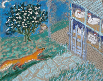 The Fox goes to the market, nearby  the poultry yard .  pastel 29x25 Sylvie Berman artiste peintre