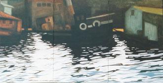 Reflejo, Cuerno de oro, triptyco Ost,65x180 Sylvie Berman artista pintora