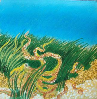 Submarine 4, pastel 20x20 Sylvie Berman artiste peintre