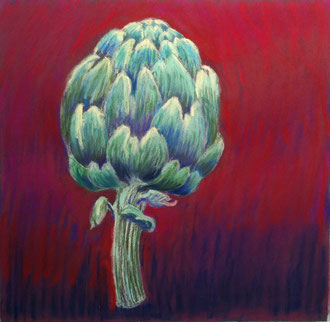 Artichaut sur pourpre, pastel 20x20 Sylvie Berman artiste peintre