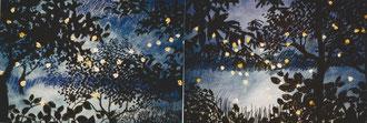 Recuerdo de las luciernagas, pastel 50x130 Sylvie Berman artista pintora