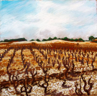 Saint Jean de Minervois, pastel 25x26 Sylvie Berman artiste peintre