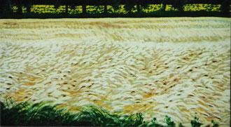 Trigos bajo viento, pastel 40x32 Sylvie Berman artista pintora