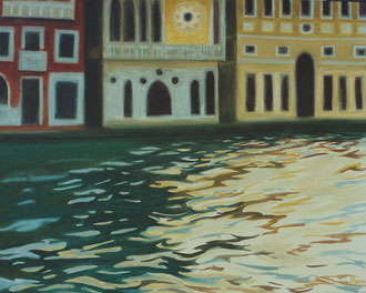 Reflexions in the water,Venise, Oil on canvas 47x29 (sold) Sylvie Berman artiste peintre