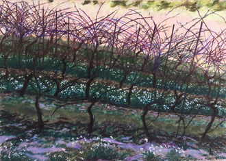 Soir de mars.pastel 70x50cm Sylvie Berman artiste peintre