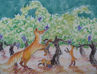 where does the fox eat? pastel 29x25 Sylvie Berman artiste peintre