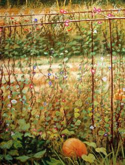 calabaza y volubilis (2) pastel 65x50 Sylvie Berman artista pintora